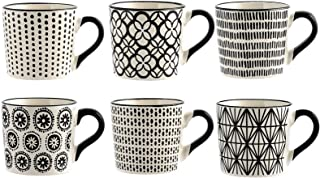 H&H H & H vhera Set de 6Tasses Thé, grès, Blanc/Noir, 220ML
