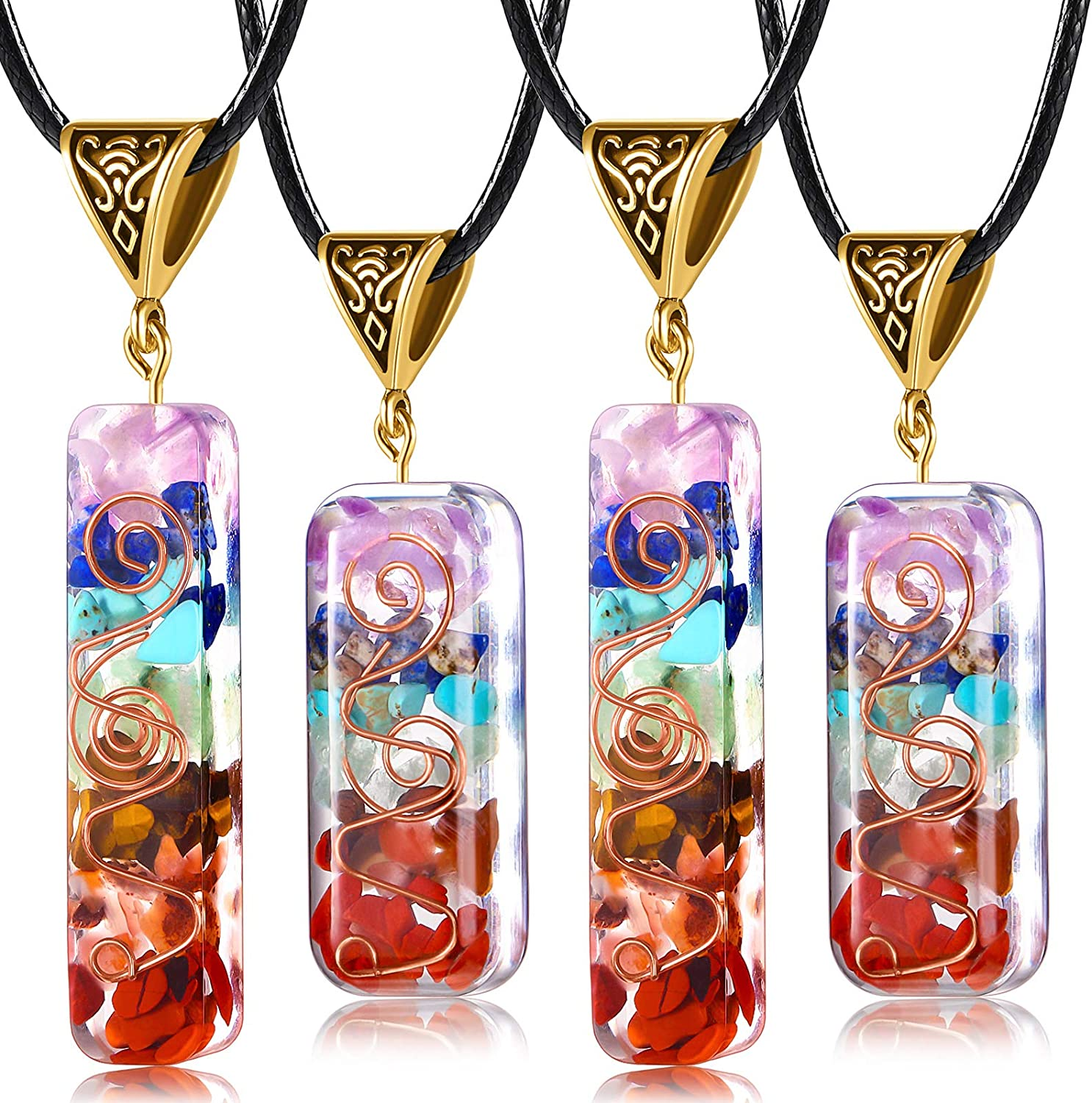 Yaomiao Healing Energy Crystal Pendant Reiki Healing Orgone Stones Necklace Generator Emotional Body Purification Pendant with Adjustable Cord for EMF Protection and Spiritual Healing
