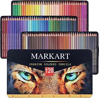 مجموعه مداد رنگی MARKART 120 برای کتاب رنگ آمیزی بزرگسالان ، طرح ، سایه زدن ، هنرهای ترکیبی ، هسته های نرم ، مداد نقاشی رنگ آمیزی هنری حرفه ای برای مبتدیان