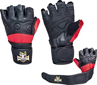 Barefitpro Weight Lifting Leather Black and Red Gloves - with Neoprene Wrist Support for Gym Workout Crossfit Weightlifting Fitness & Cross Training - for Men & Women Premium Quality Gear - Warranty