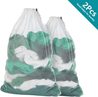 2 Pieces (Different Sizes) of Mesh Laundry Bag Heavy Duty Drawstring Bag, Factories, College, Dorm, Travel and Apartment Dwellers