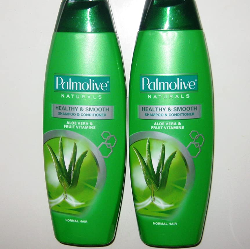 それらサミュエル階Lot of 2 Palmolive Naturals Shampoo & Conditioner 2in1 Healthy & Smooth for Normal Hair 180mL/pk (Total 360mL) by Palmolive Naturals