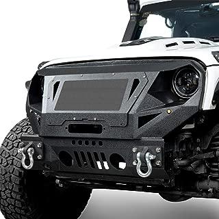 Hooke Road Heavy Duty Bumper w/Grill Guard & Winch Plate for 2007-2018 Jeep Wrangler JK & Unlimited