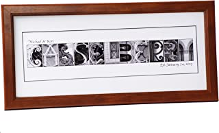 Personalized Wedding Name Sign created with Architectural Alphabet Photography includes 12 by 26 inch Frame with Mat - Best Wedding Gift