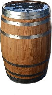 Temesso Barril de Madera 100 litros, depósito Agua de Lluvia, Barril Nuevo, Barril en Madera de castaño (Barril 100 litros Abierto y tratado con Aceite)