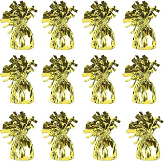 Gold Metallic Wrapped Balloon Weights for Helium Balloons and Birthday Party Decoration, Pack Of 12 …