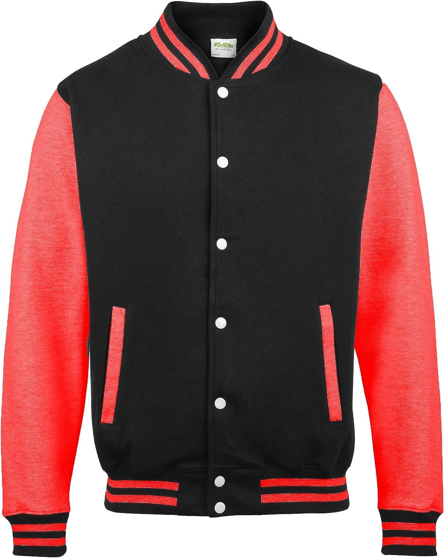 Awdis Unisex Varsity Jacket (L) (Jet Black/Fire Red)