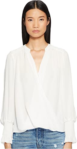 Rebecca Taylor Silk Double Georgette Wrap Top