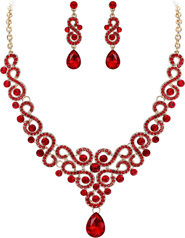 EVER FAITH Women's Austrian Crystal Art Deco Bridal Floral Wave S-Shaped Teardrop Necklace Earrings Set