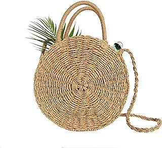 0c396386d66745 Stroh Crossbody Tasche Frauen Weben Umhängetasche Runde Sommer Strand  Geldbörse und Handtaschen