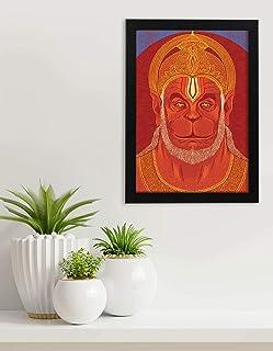 Lord Hanumanji Painting | Mahaveer Hanuman Art | God Photo Wooden Frame | Indian Mythology Digital Print Picture | Portrai...