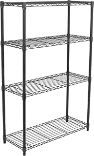Internet's Best 4-Tier Wire Shelving - Flat Black - Heavy Duty Shelf - Wide Adjustable Rack Unit - Kitchen Storage