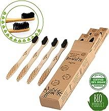 4 Cepillos Bio White dentales blanquadores de Bambu puro Medium, Biodegradable. Recomendados por Dentistas de todo el mundo. Cerdas Negras de Carbon de Bambu con efecto blanqueador libres de BPA
