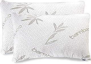Oreiller en bambou – Oreiller en mousse à mémoire de forme – Oreillers de qualité supérieure pour dormir avec taie d'oreil...