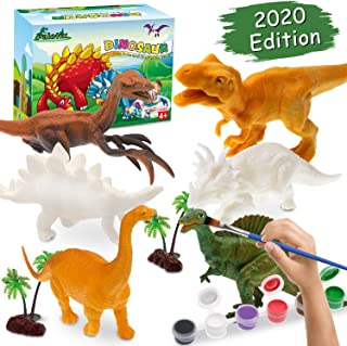 Arts and Crafts for Kids Painting Kit - 6 Different Dinosaurs & Play Mat & 2 Dinosaur Eggs & 2 Trees & 2 Rocks, Gifts Toys Art and Crafts for Boys Girls Age 4 5 6 7 8 9 Years Old