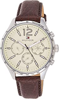 Tommy Hilfiger Men's Casual Stainless Steel Quartz Watch with Leather Strap, Brown, 20 (Model: 1791467)