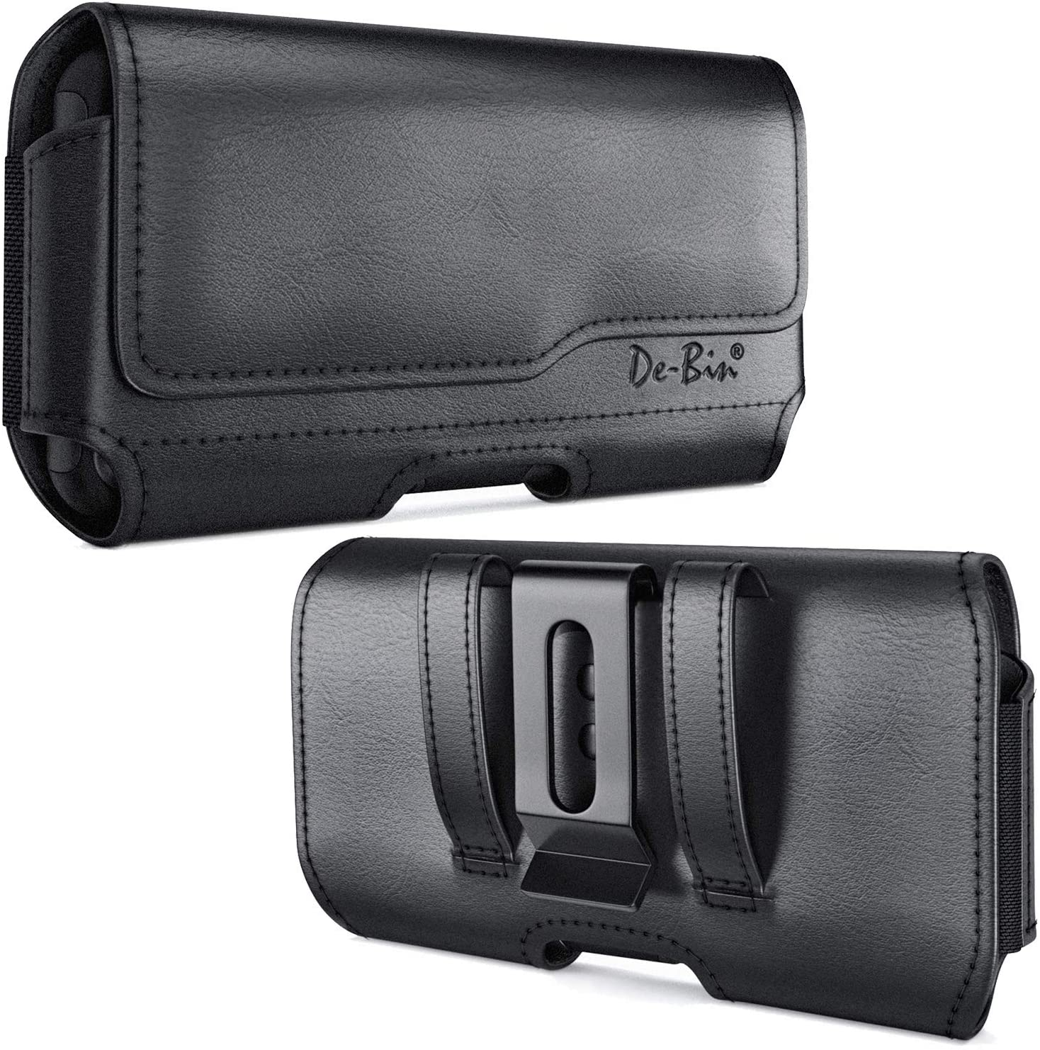 De-Bin Belt Holster Designed for iPhone 12 Pro Max /11 Pro Max / Xs Max / 8 Plus / 7 Plus / 6s Plus, Belt Case with Belt Clip Phone Belt Holder Pouch Compatible with iPhone Otterbox / Battery Case on