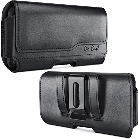 De-Bin iPhone 11 Pro Max / iPhone Xs Max / 7 Plus / 8 Plus / 6s Plus Holster, Leather Belt Case with Clip Cell Phone Pouch Belt Holder for Large Apple iPhone (Fits Cellphone w/ Other Cases on) Black