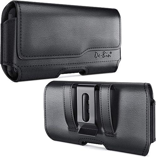 De-Bin Holster Designed for iPhone 13 Pro, 13, 12 Pro, 12, 11, XR Holster, Leather Belt Holster Case with Belt Clip a...