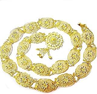 PunPund Belt Gold Plate Jasmine Vintage Thai Traditional Dance Ram Thai Women Wedding Costume Length 40 Inches 1 Piece
