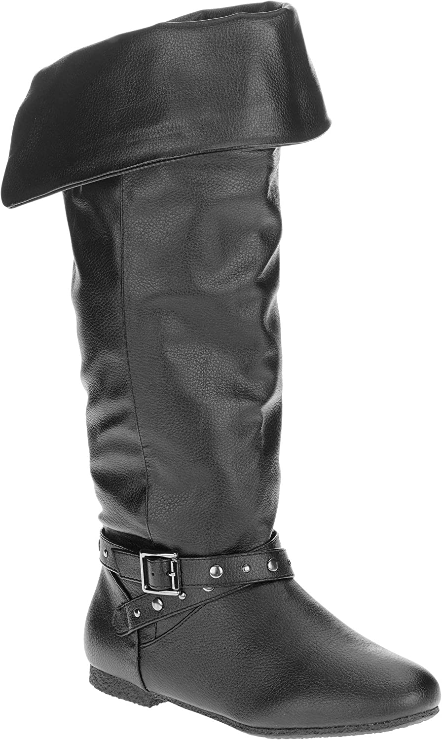 Mo Mo Womens' Darlene Buckle Riding Boot, Wide Calf Riding Boot Tall Boot Metal Stud, Size 8W (25 MEX)
