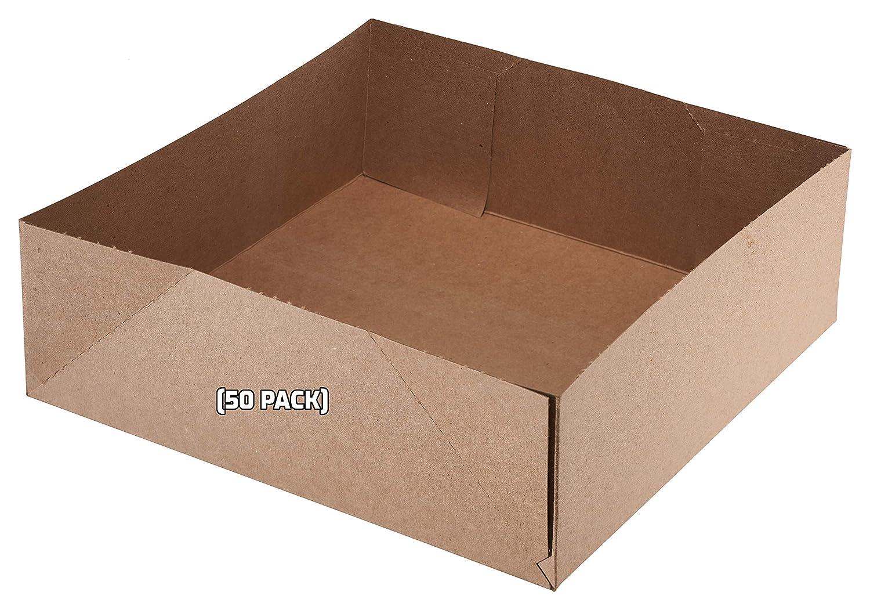 [50 Pack] Kraft Paperboard 4 Corner Pop Up Food Tray - Food and