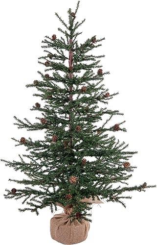 "Vickerman 36"" Caramel Pine Artificial Christmas Tree Unlit, Seasonal Indoor Home Decor with Decorative Burlap Base"