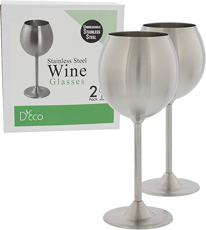 Stainless Steel Unbreakable Wine Glasses Set Of 2 Premium Quality 12 Ounce Wine Glasses