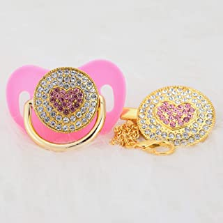 MIyocar all handmade bling baby siliver pacifier and clip bling princess sweet heart and 11 colors can choose AH-1