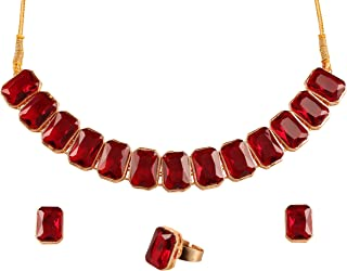 Gold Tone Indian Bollywood red Faux Ruby and Rhinestones Jewelry Necklace Set for Women