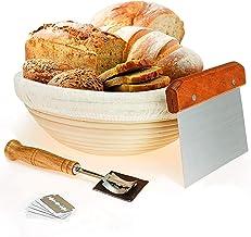 سلة عزل الخبز مقاس 10 انش من ويرتيو مع قطعة تحديد الخبز وكشط العجين وبطانة من القماش للخبازين المحترفين والمنزليين