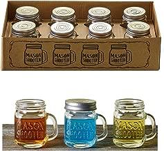 Hayley Cherie - Mason Jar Shot Glasses with Lids (Set of 8) - Mini Mason Shooter Glass with Handles - 2 Ounces