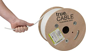 Cat6 Riser (CMR), 500ft, White, 23AWG 4 Pair Solid Bare Copper, 550MHz, ETL Listed, Unshielded Twisted Pair (UTP), Bulk Ethernet Cable, trueCABLE