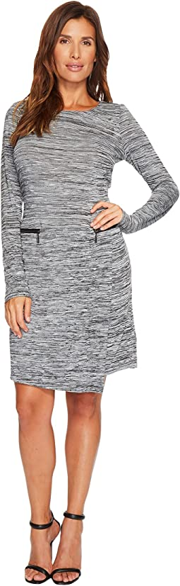 Tribal - 3/4 Sleeve Space Dye Jersey Dress w/ Zip Detail