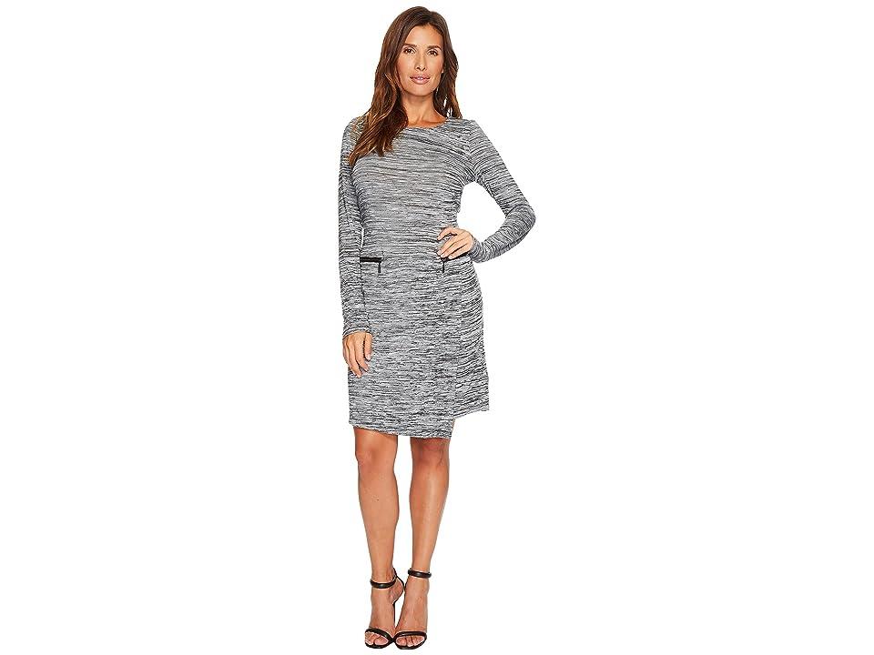 Tribal 3/4 Sleeve Space Dye Jersey Dress w/ Zip Detail (Carbon) Women