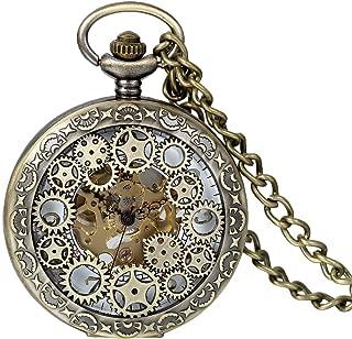 JewelryWe Automatic Mechanical Watch Classic Hollow Gear Skeleton Hand Wind Steampunk Retro Watch with Chain
