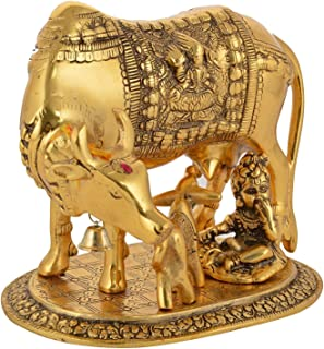 Religious Kamdhenu Cow with Calf Handmade Handicraft for Home Decor Gift Item (Gold with Krishna, Large)
