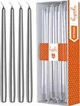 Hyoola 12 Pack Tall Metallic Taper Candles - 10 Inch Silver Metallic, Dripless, Unscented Dinner Candle - Paraffin Wax with Cotton Wicks