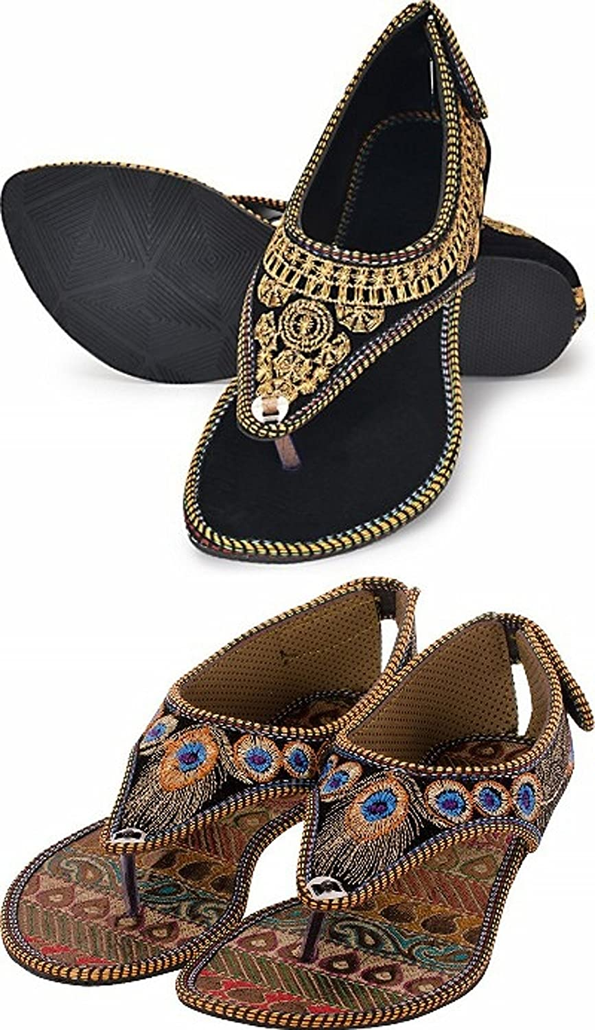 Red Choice Collection Indian Ethnic Footwear Sandal Combo of 2