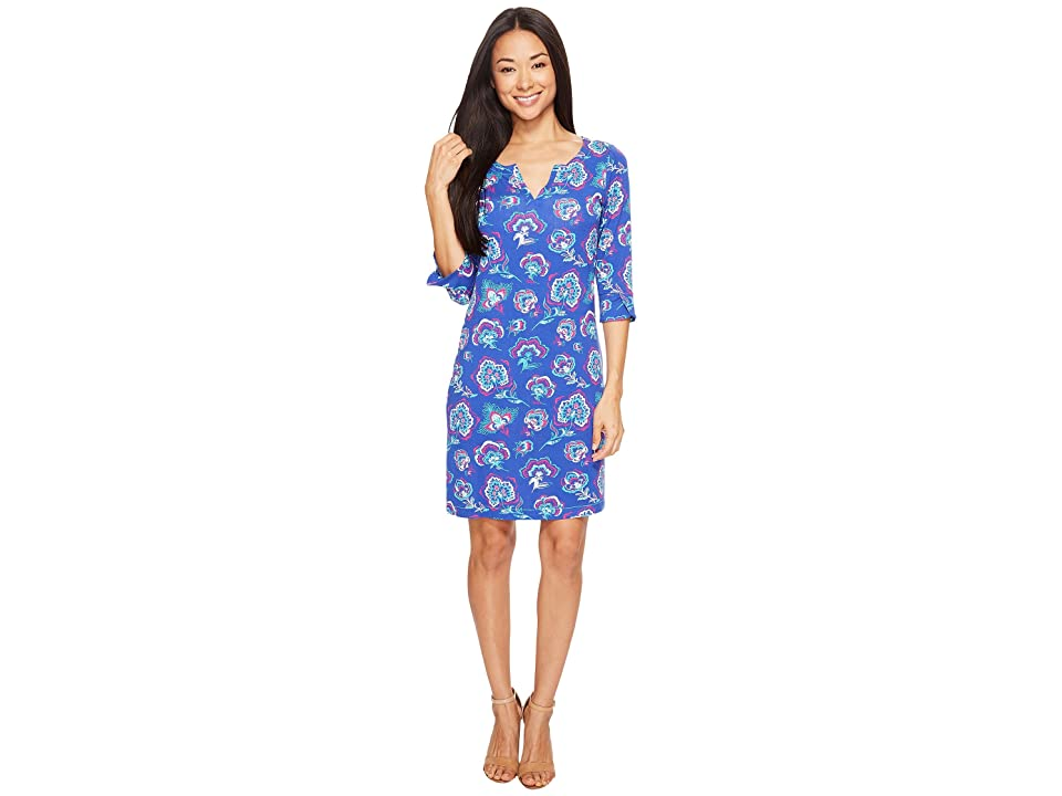 Hatley Peplum Sleeve Dress (Folk Floral Royal Blue/Fuchsia) Women