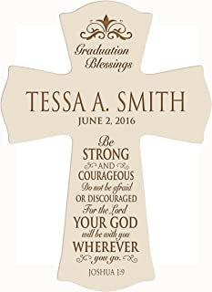 LifeSong Milestones Personalized Graduation Gifts for Graduate Ideas for Men and Women Custom Wall Cross Be Strong and Courageous Joshua 1:9 (8.5