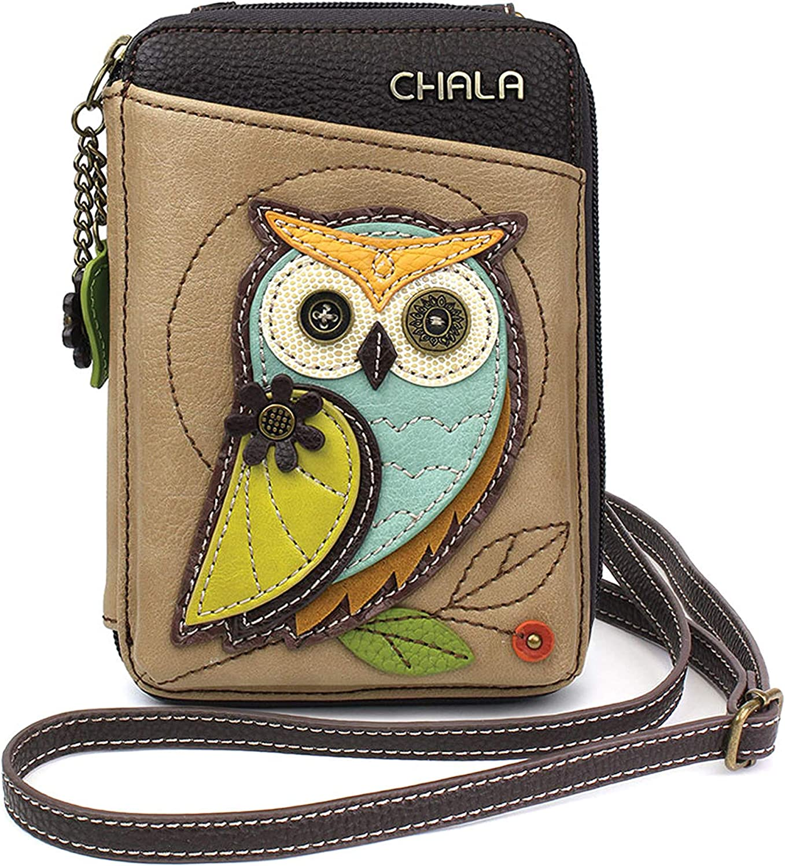 CHALA Cartera Crossbody Monedero para teléfono Celular-Bolso Multicolor de Piel sintética para Mujer con Correa Ajustable - Owl-A Taupe