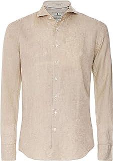 Thomas Maine Men's Tailored Fit Linen Bari Shirt Light Brown