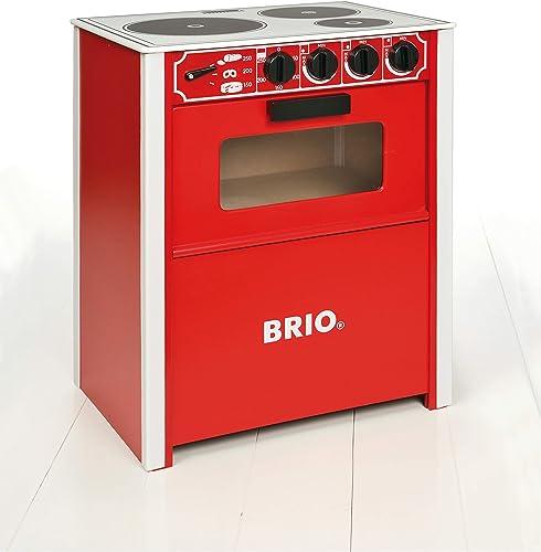 BRIO - 31355 - Cuisinière Rouge - Jeu d'imitation - Cuisine en bois FSC pour enfants - Design scandinave ultra réalis...