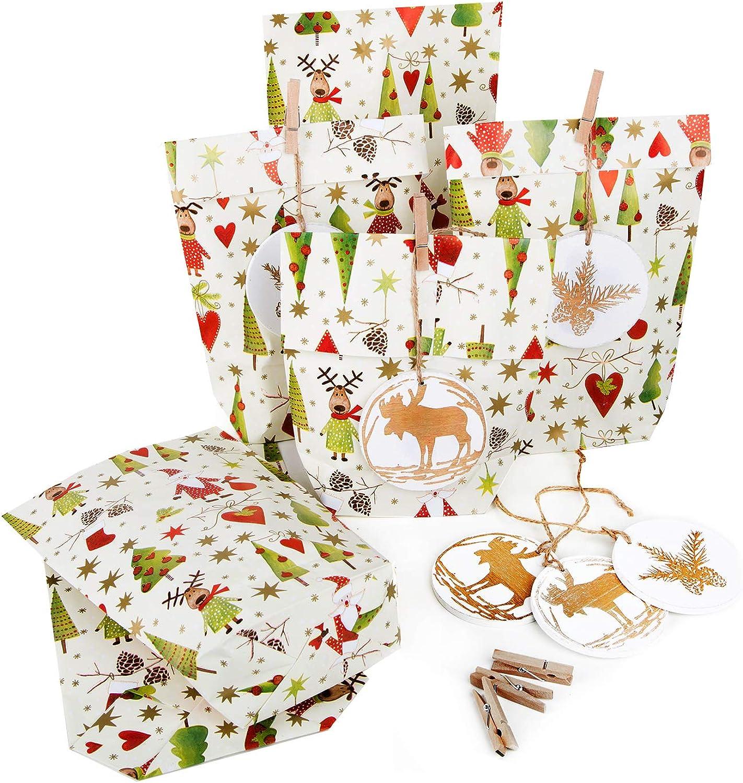 50 x Papiertüte Weihnachten Verpackung ROT GRÜN SANTA SANTA SANTA NIKOLAUS  50 Anhänger HIRSCH weiß Gold Kunden Geschenke Kinder Nikolaussäckchen B07K5RS9BC   Düsseldorf Online Shop  68d7d7