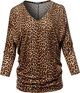 SSOULM Women`s Loose Fit 3/4 Sleeve Drape Dolman Top with Plus Size