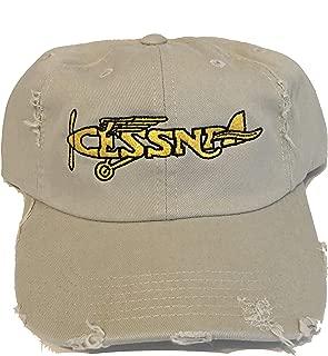 Vintage Cessna Logo Distressed hat Khaki