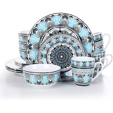 VEWEET, série Audrie, Service de Table Complet en Porcelaine, 16 pièces pour 4 Personnes, Style Marocain