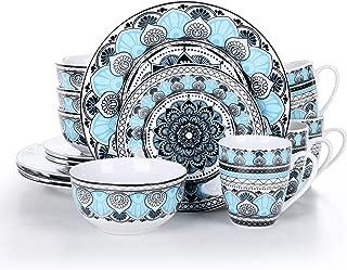 VEWEET Audrie Juego de Vajilla 16 Piezas con 4 Platos Llanos, 4 Platos de Postre, 4 Cuenco de Cereal y 4 Tazas para 4 Personas