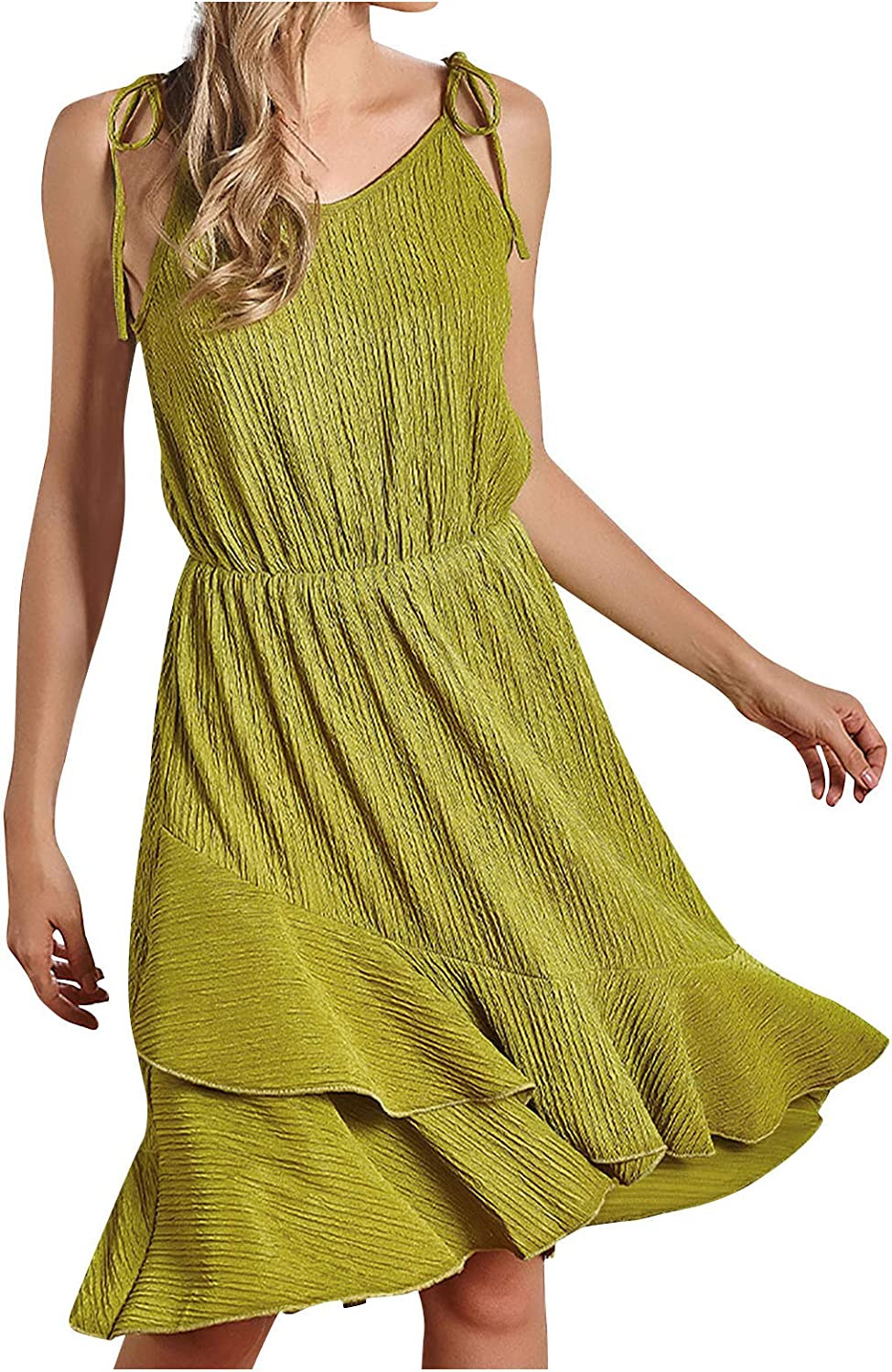 Women Spaghetti Strap Solid Los Angeles Mall Color Dress NEW before selling ☆ Sleeveless Lace-u Summer